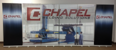 5 banner stands wall